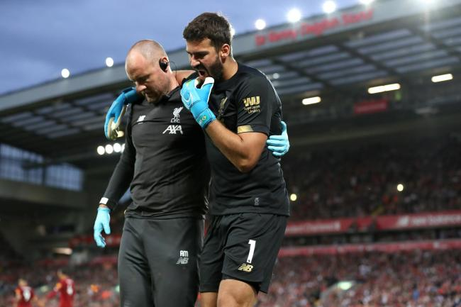 Liverpool keeper Alisson Becker is facing weeks on the sidelines with a calf injury