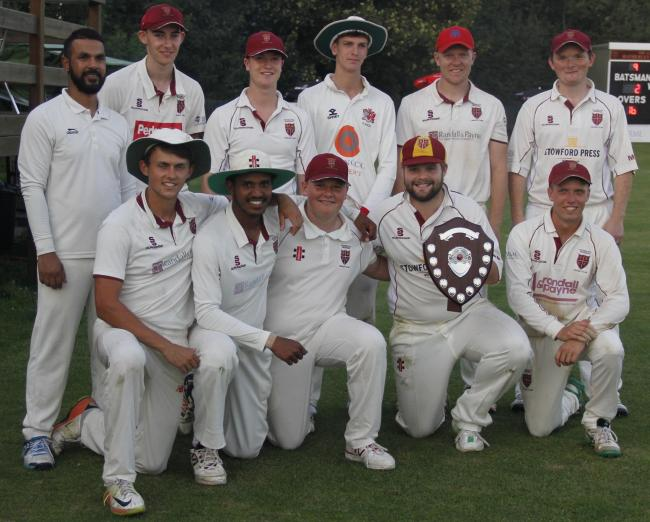 Hatherley & Reddings celebrate becoming the inaugural Greene King IPA Gloucestershire County League T20 Blast champions