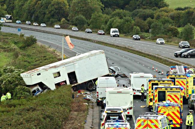 The scene of the accident on the M5 near Falfield in 2017