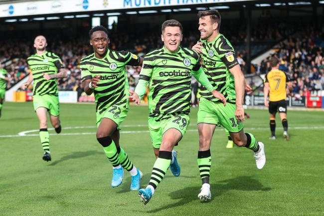 GET IN: Jack Aitchison paid an emotional tribute to his late father as he scored a dramatic winner for Forest Green            Pic: Shane Healey/ Pro Sports Images