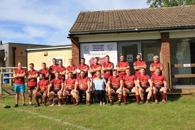 Dursley RFC 2019/20 1st XV, pictured with team sponsor -  Wynitia Oakhill, Marketing Manager at  Iron & Earth Equipment.