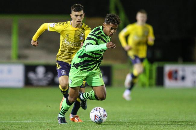 Vaughn Covil, 16, drives forward on his debut for Forest Green Pic: Shane healey