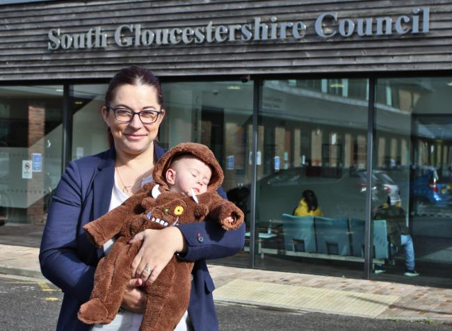 Cllr Rachael Hunt, Cabinet Member for Communities, who helped develop the policy, and her baby daughter Thea