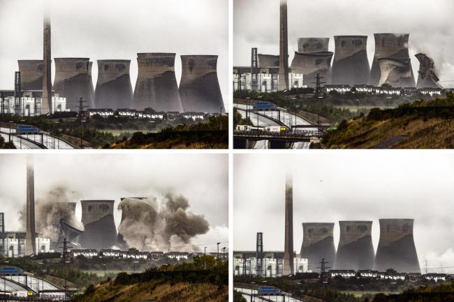Cooling towers at the Ferrybridge Power Station are demolished