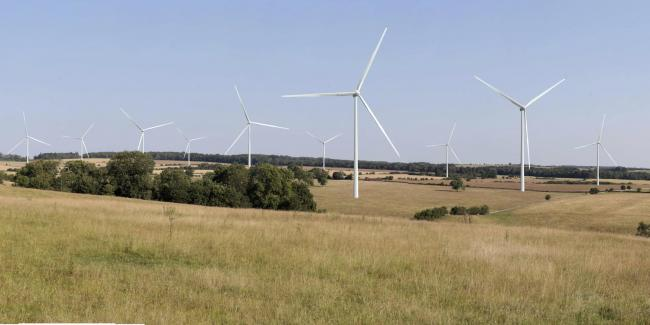 A visualisation, showing one wind park on land outside of Stow-on-the-Wold, Gloucestershire.