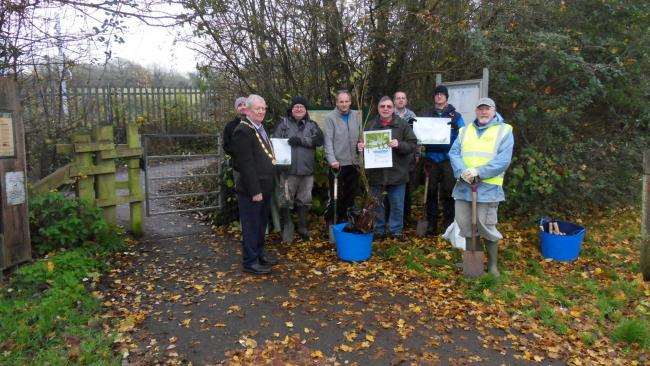 Volunteers at the reserve with Cllr David Lane