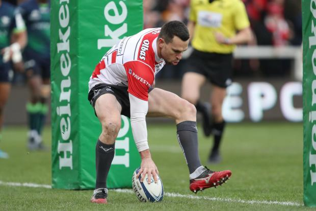 Gloucester's Tom Marshall scores their first try during the Heineken European Champions Cup pool five match at Kingsholm Stadium, Gloucester. PA Photo. Picture date: Sunday December 8, 2019. See PA story RUGBYU Gloucester. Photo credit should read: D