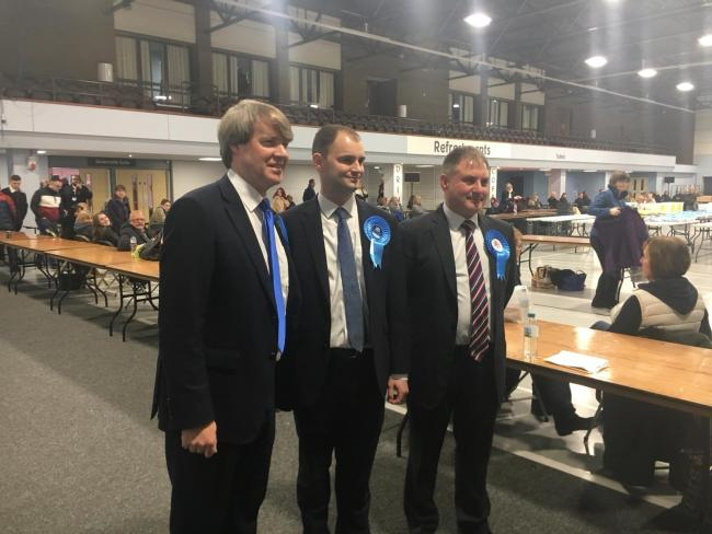 Re-elected MP's Chris Skidmore, Luke Hall and Jack Lopresti