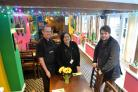 Dave Lawrence and Shamsi Kabbara of the Two Amigos restaurant with Edward Febry of the Royal Oak in Chipping Sodbury