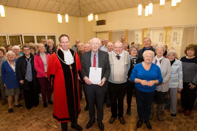 Geoffrey Wickham, central, with Mayor Karl Tomasin and Wully Perks at the recent Yate Choral Society rehearsal. Picture by Rich McD