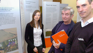 Cllr Barry Turner, chairman of Oldbury Parish Council, centre, with Rebecca Hardy and Tim Proudler of Horizon Nuclear Power at the public exhibition in Oldbury-on-Severn on Saturday