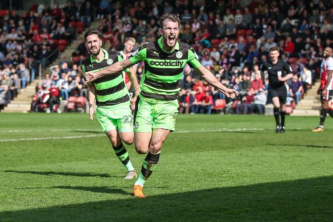 Forest Green Rovers Christian Doidge(9) scores a goal 0-1 and celebrates during the EFL Sky Bet League 2 match between Cheltenham Town and Forest Green Rovers at LCI Rail Stadium, Cheltenham, England on 14 April 2018. Picture by Shane Healey.