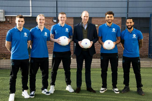 The Duke of Cambridge, pictured with members of Everton FC's squad, is featured in a documentary about men's mental health seen through the prism of football. BBC/Goalhanger Films