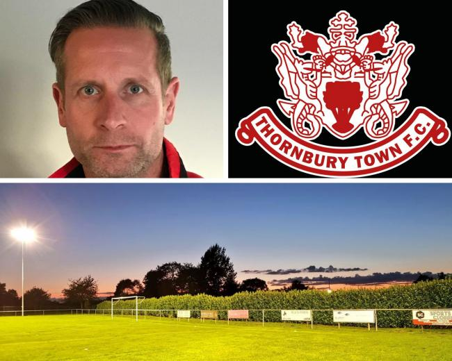 Manger Jason Rees, the Thornbury Town badge and the Mundy Playing Fields