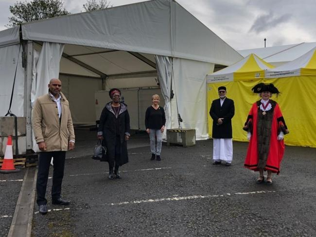 The multi-faith blessing ceremony at Sandy Park temporary mortuary on April 17 (Image: Bristol City Council, free to use by all partners)