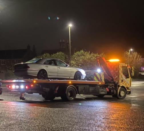 Mercedes towed away