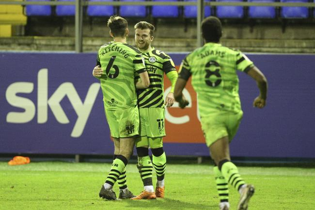 Goal 2-2 Forest Green Rovers midfielder Nicky Cadden (11) scores the equalising goal 2-2 in the final minute and celebrates during the EFL Sky Bet League 2 match between Barrow and Forest Green Rovers at Progression Solicitors Stadium, Barrow, United King