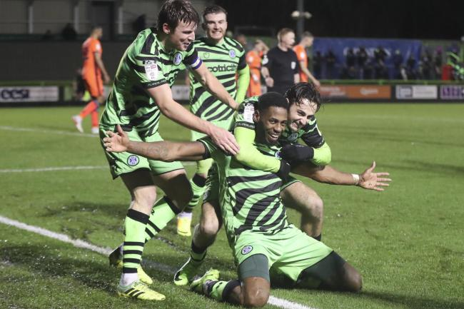 Forest Green Rovers Jamille Matt(14) scores a goal 1-0 and celebrate during the EFL Sky Bet League 2 match between Forest Green Rovers and Carlisle United at the New Lawn, Forest Green, United Kingdom on 19 December 2020.