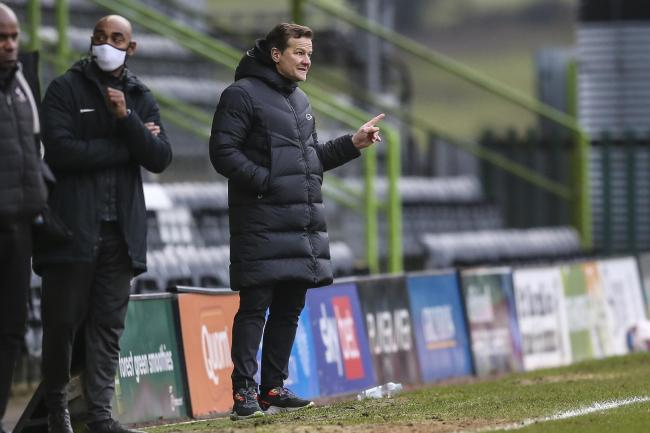 Forest Green Rovers head coach, Mark Cooper during the EFL Sky Bet League 2 match between Forest Green Rovers and Port Vale at the New Lawn, Forest Green, United Kingdom on 16 January 2021.