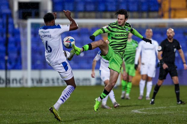 Forest Green Rovers forward Aaron Collins(10)  during the EFL Sky Bet League 2 match between Tranmere Rovers and Forest Green Rovers at Prenton Park, Birkenhead, England on 19 January 2021.