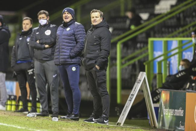 Forest Green Rovers head coach, Mark Cooper during the EFL Sky Bet League 2 match between Forest Green Rovers and Oldham Athletic at the New Lawn, Forest Green, United Kingdom on 16 February 2021.