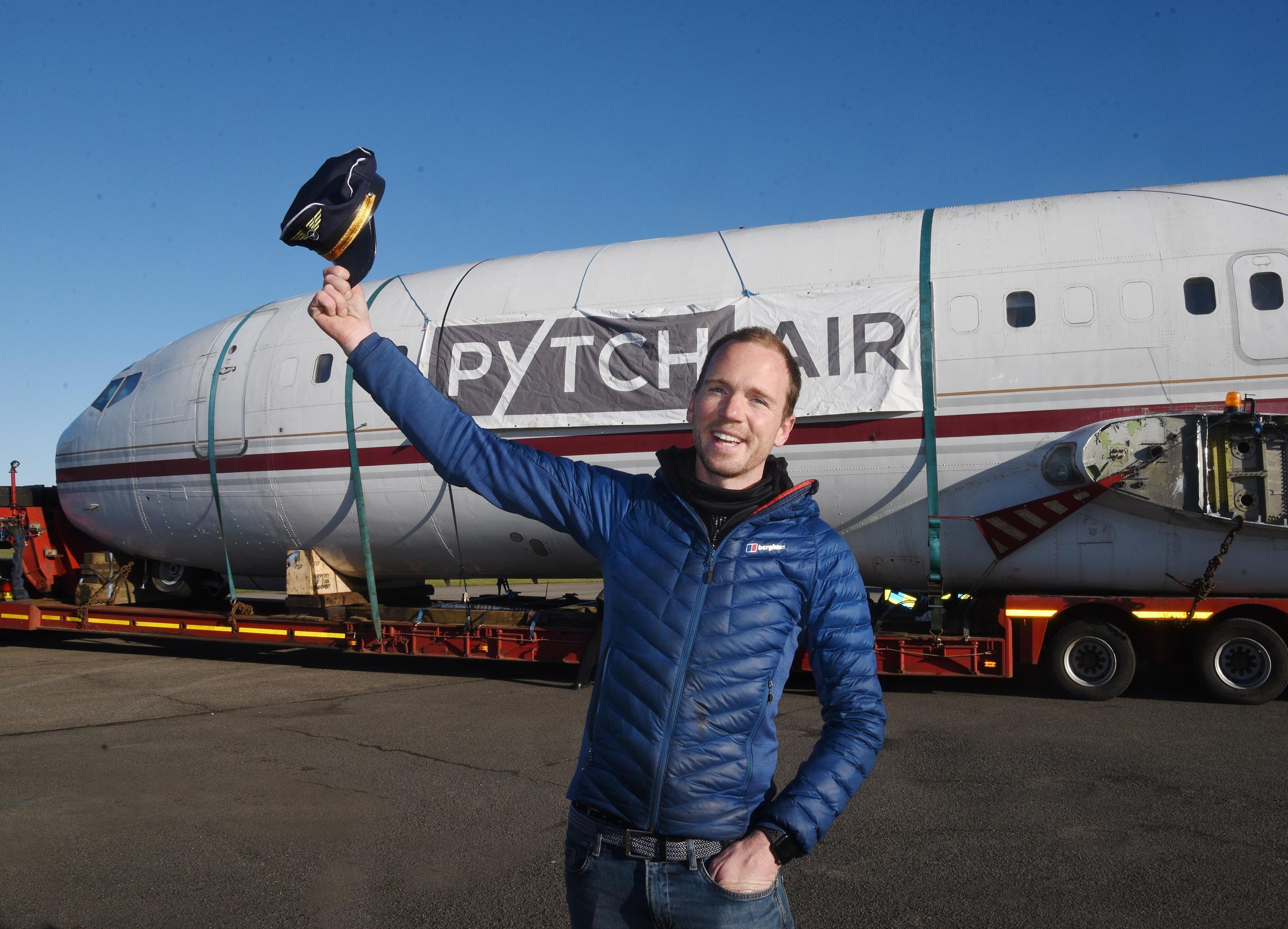 February 27 2021 PHOTOGRAPHER COPYRIGHT SIMON PIZZEY Johnny Palmer of Pytch Air Captains hat in the air PYTCH AIR Plane move from Kemble Cotswold Airport to Bristol