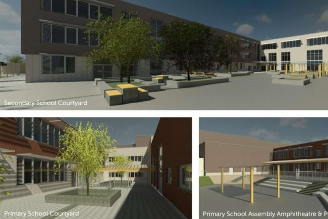 An impression of the new schools at Lyde Green
