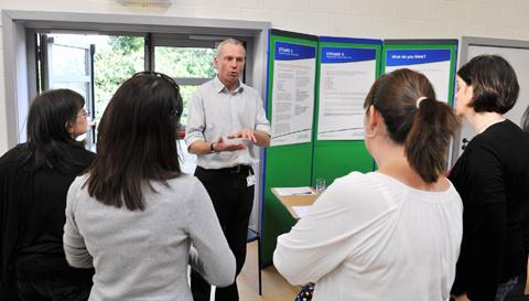 Nick Aslett, of South Gloucestershire Council, talking with some of the visitors to the youth services consultation at Turnberrie's