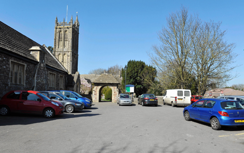 The car park outside St Mary's Church in Yate