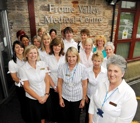 Loraine Hatherell, right, with fellow staff at the Frome Valley Medical Centre
