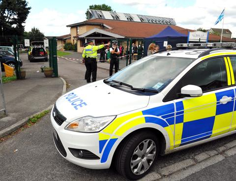 Police cordoned off Manor Primary School in Coalpit Heath on Monday