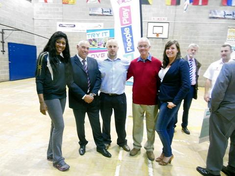 Olympian Natasha Danvers, Old Sodbury chairman Richard Deane, manager Greig Everson, secretary Laurence Walker and fundraiser Louise Deane