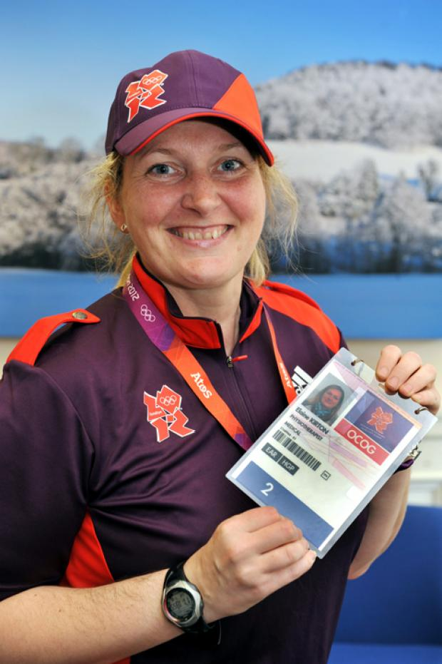 Elaine Kirton with her Olympic pass