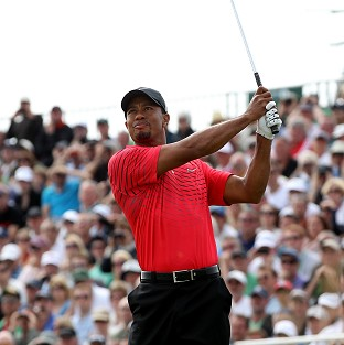 Tiger Woods tees off on the fifth hole during his final round