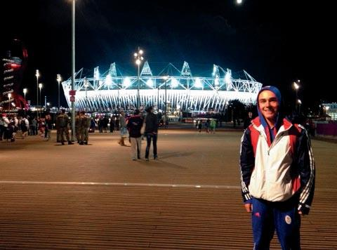 Kieran Slater outside the Olympic stadium