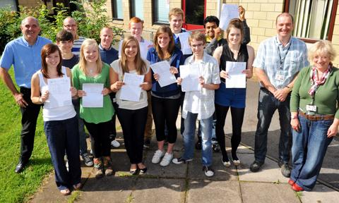 Brimsham Green School students with head teacher Alun Williams and staff after they collected their A-level results