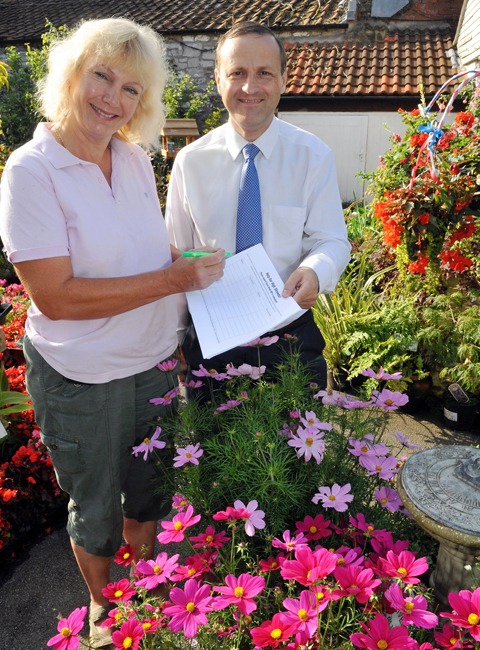 Thornbury and Yate MP Steve Webb with Thornbury Garden Shop owner Sue Aitken
