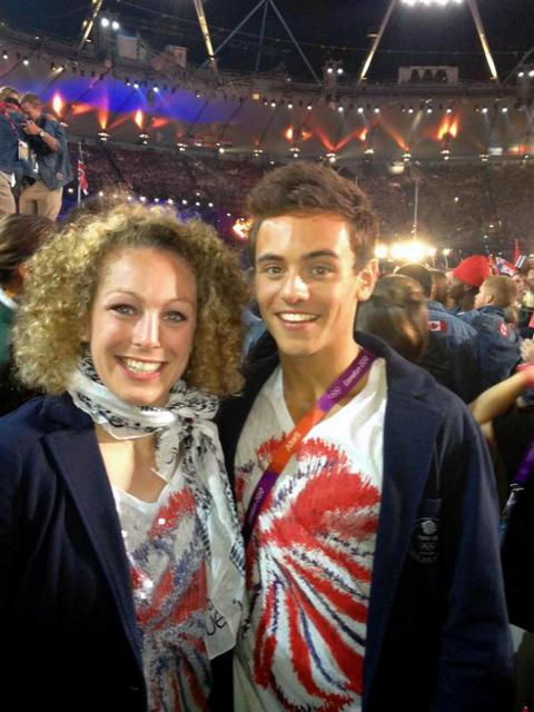 Sally Conway with Tom Daley in the Olympic Stadium. Picture from @sconway70 on twitter