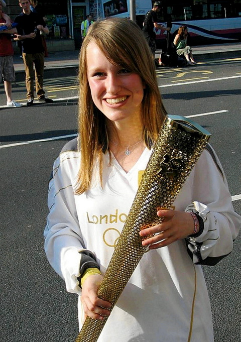 Jess Hopton with the Olympic torch