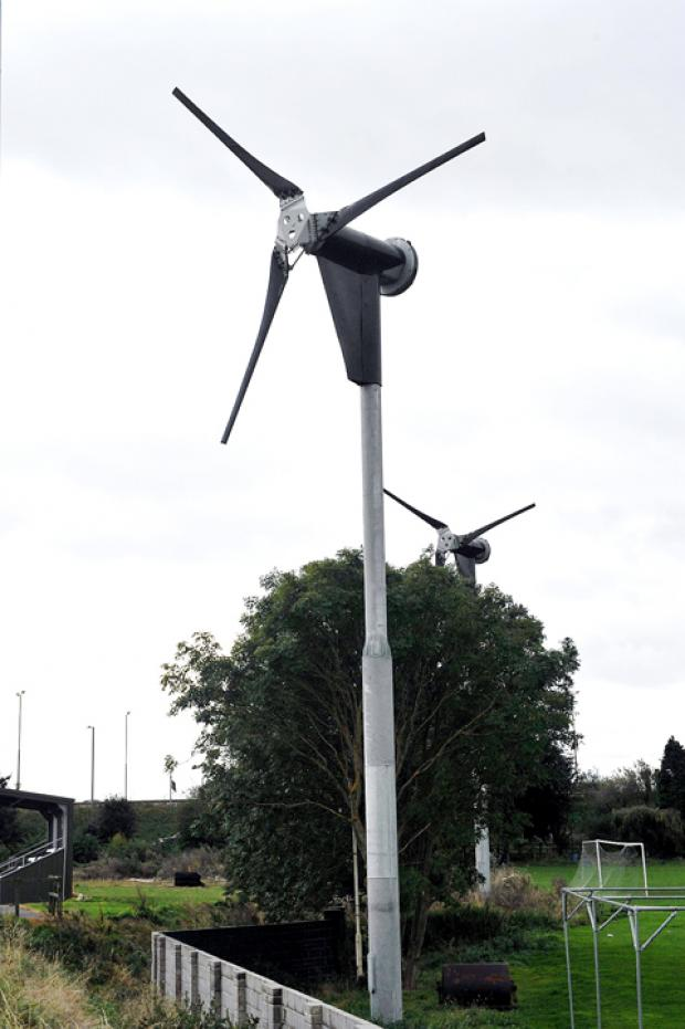 The wind turbines at Almondsbury