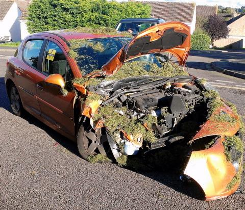 This car was pulled out from underneath a trailer after an accident on St John's Way, Chipping Sodbury