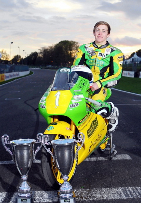 Luke Hedger with his trophies for winning the British 125GP Championship and Motostar Cup. Picture: Full Throttle Imaging
