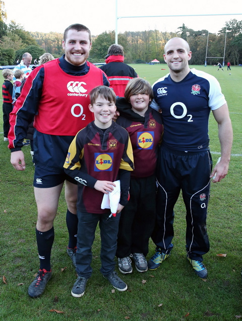 Dominic Stephenson and Esme Harper-Coles with England players Ben Morgan and Charlie Sharples