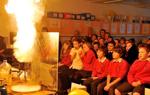 Uley Primary School pupils were in the front row to watch the display of fire at Rednock School in Dursley
