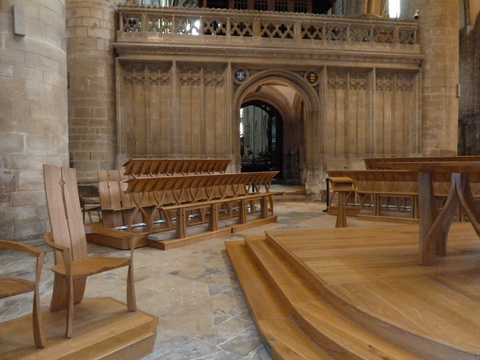The new choir stalls at Gloucester Cathedral