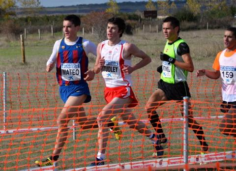 Dan Studley ( second in from left) in action at the Burgos Cross Country International