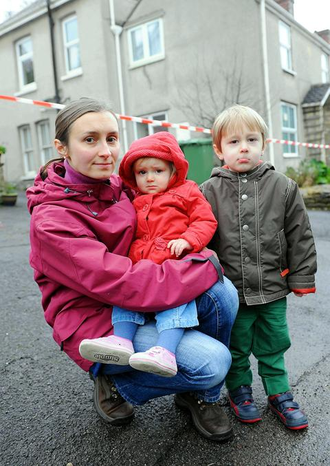 Anna Williams with her children Camilla, one, and Edward, three, outside their home in  Old Sodbury