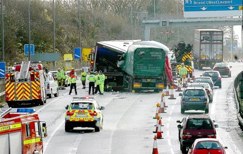 The scene of devastation on the M4 this morning