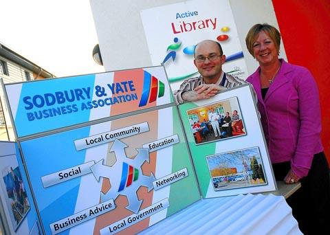Deputy chairman of the Sodbury and Yate Business Association, Linda Banister (right), with librarian Neil Weston from Yate Library