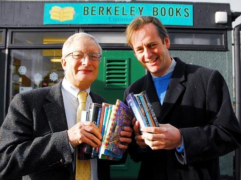 Berkeley Books chairman of the library committee, John Stanton (left) with Charles Berkeley, who officially opened Berkeley Books